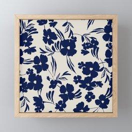 Abstract blue flowers Framed Mini Art Print