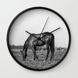 Black Horse Grazing w/ Geese Wall Clock