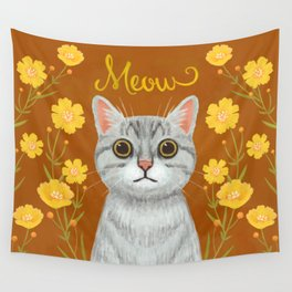 cat with floral - meow Wall Tapestry