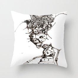 Roller bot Throw Pillow