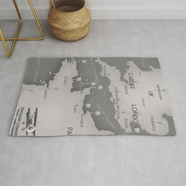 English Channel map (mono) Rug