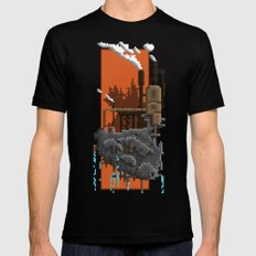 Pixel Landscape : Steam Factory MEDIUM Mens Fitted Tee Black