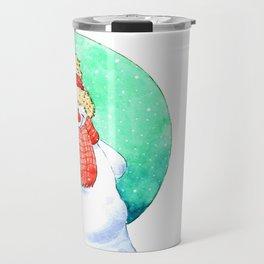 Happy snowman with bird Travel Mug