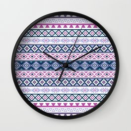 Aztec Stylized Pattern Blues Pinks Purples White Wall Clock