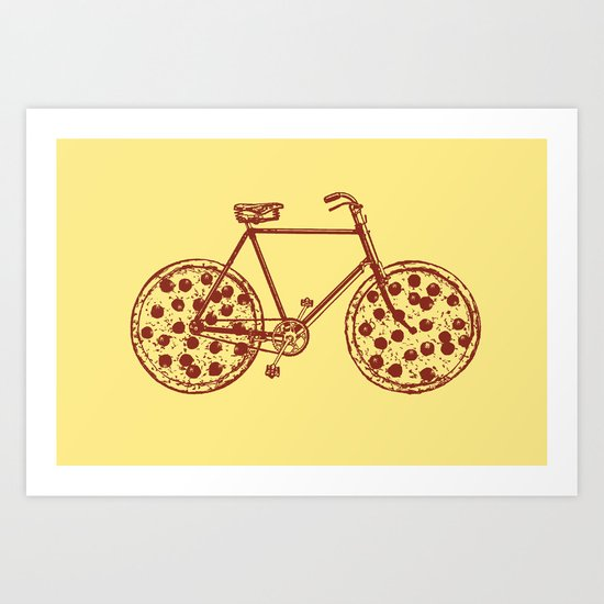 Bicycle with Pepperoni Pizza Tires Art Print