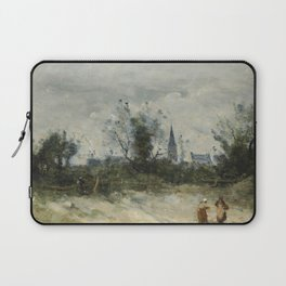 """Camille Corot """"Village au clocher pointu (Village with bell tower)"""" Laptop Sleeve"""