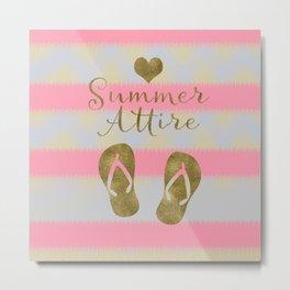 Summer Attire is Flip Flops Metal Print