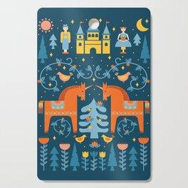 Scandinavian Fairytale Blue + Orange Cutting Board