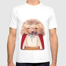 Hedgehog Mens Fitted Tee LARGE White