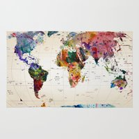 animals Area & Throw Rugs featuring map by mark ashkenazi
