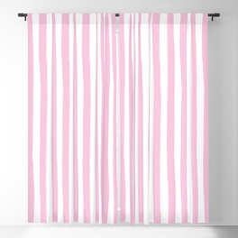 Pink and White Cabana Stripes Palm Beach Preppy Blackout Curtain