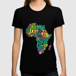 African Continent Cloud Map In Pastels T-shirt