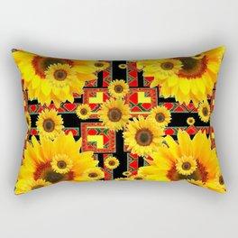 KANSAS WESTERN BLACK & RED YELLOW SUNFLOWERS Rectangular Pillow