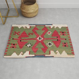 Red Diamond Arrow Konya // 19th Century Authentic Colorful Blue Green Cowboy Accent Pattern Rug