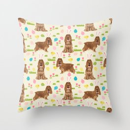Cocker Spaniel easter eggs easter bunny cute spring dog pattern design for spaniel owners Throw Pillow