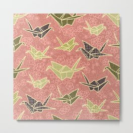 Rose and Olive Paper Cranes with Flowers Metal Print