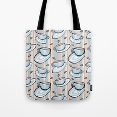 Cups Medley Blue Stripes Tote Bag