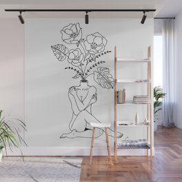 Female Form in Bloom Floral Design Wall Mural