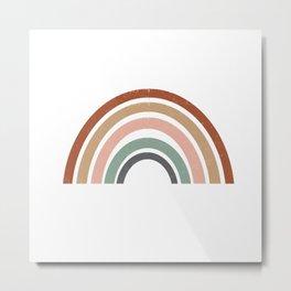 Rainbow earth tone cute kids room decor muted rainbow art print for nursery Metal Print