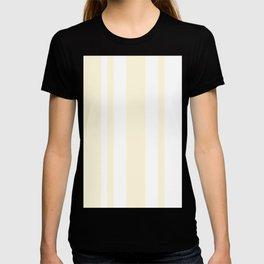Mixed Vertical Stripes - White and Cornsilk Yellow T-shirt