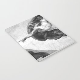 Black and White Creation of Adam Painting by Michelangelo Sistine Chapel Notebook