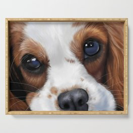 king charles spaniel dog painting Serving Tray