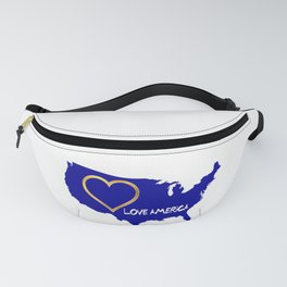 Love America USA Map Silhouette Fanny Pack
