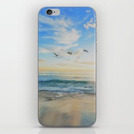 Beach - Ocean - Sundown - Sunrise - Seashore - Birds - Clouds iPhone Skin
