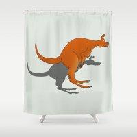 kangaroo Shower Curtains featuring Kangaroo by mailboxdisco