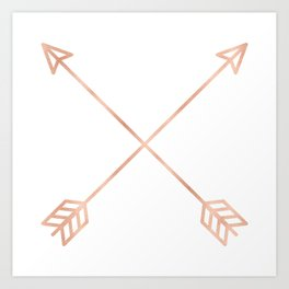 Rose Gold Arrows on White Art Print