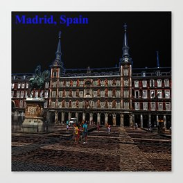 Neon Art of a plaza in Madrid, Spain Canvas Print