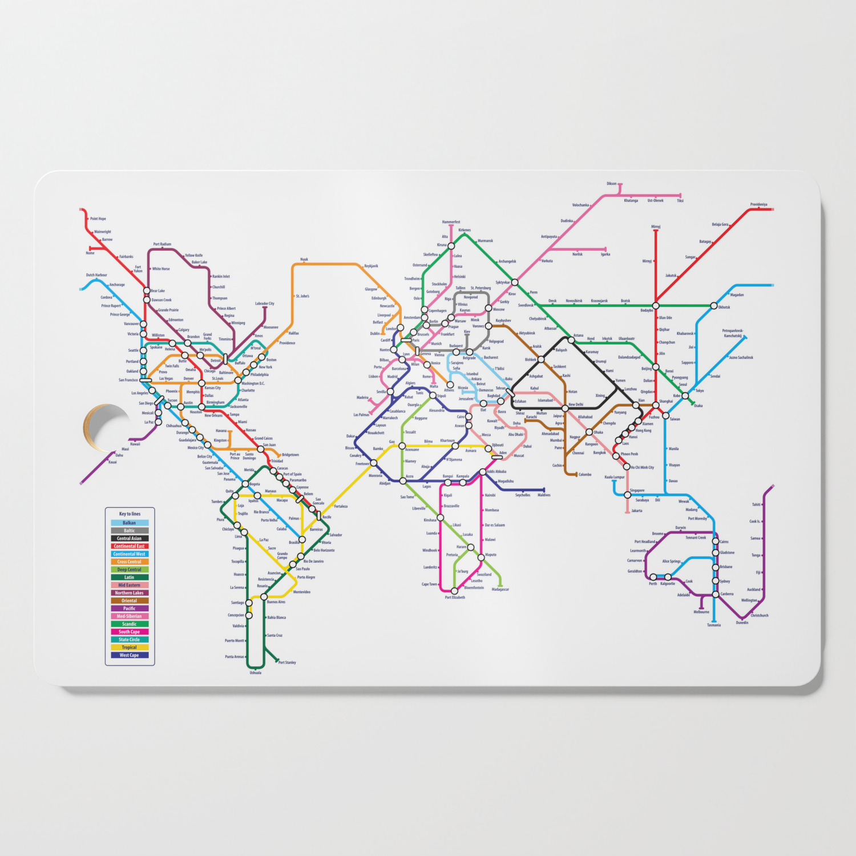 Subway Map Of Amsterdam.World Metro Subway Map Cutting Board By Artpause
