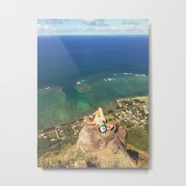 Resting Woman On High-up Tropical Cliff Edge Metal Print