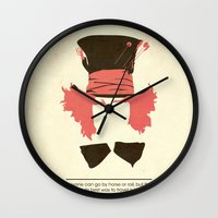 mad hatter Wall Clocks featuring Mad Hatter by TurtleGirl