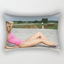 summer fitness girl Rectangular Pillow