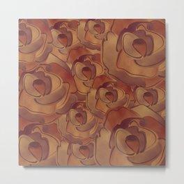 Old Paper Roses Pattern Metal Print