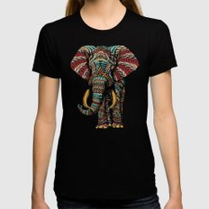 Ornate Elephant (Color Version) LARGE Black Womens Fitted Tee