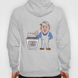 Oven Cleaner With Oven Thumbs Up Cartoon  Hoody