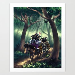 Monsieur Pug and Monk Pug in the Woods Art Print