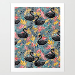 Bonny Black Swans with Lots of Leaves on Grey Art Print