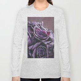 Macro photography of purple roses with raindrops. Fantasy and magic concept. Selective focus. Long Sleeve T-shirt