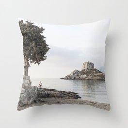 Sunrise on a greek island Throw Pillow