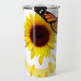 ORANGE MONARCH BUTTERFLIES & SUNFLOWER  PATTERN Travel Mug