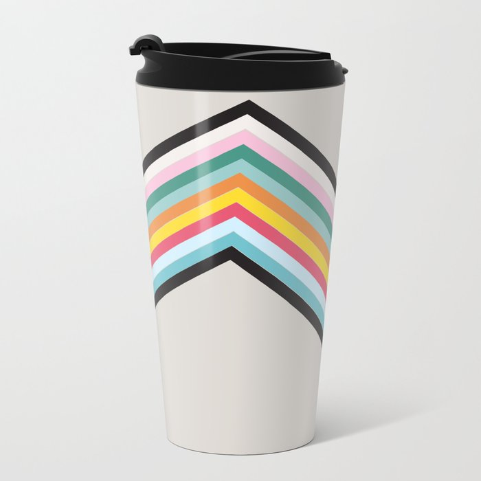 Retro Stripes Metal Travel Mug