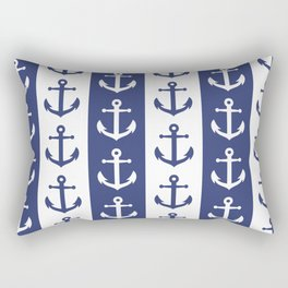 Nautical Sailor Stripes with Anchor Pattern Blue 241 Rectangular Pillow