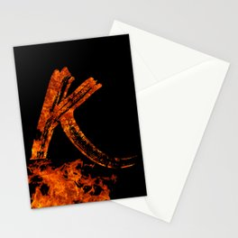 Burning on Fire Letter K Stationery Cards