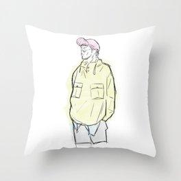 Man in Lime Coat & Pink Cap Throw Pillow