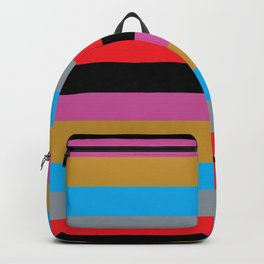 Colorful Stripes Black Pink Blue Gold Gray Red Backpack