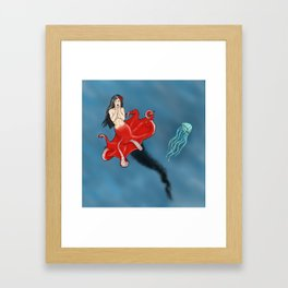 Pin-up Octopus Mermaid Cecaelia Framed Art Print