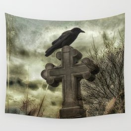 Gothic Crow Perched On A Old Cross Wall Tapestry